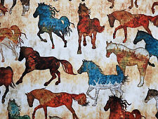 Unbridled Southwest Painted Horses Cream Quilting Treasures #6188 By the Yard