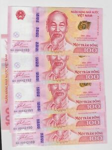 SIX CONSECUTIVE P125 VIETNAM 100 DONG 2016 BANKNOTES IN MINT CONDITION.