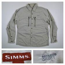 Simms Mens 3XDRY Fly Fishing Guid Shirt Zipper Pockets Vented Long Sleeve Large