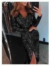 Damen Clubwear Langarm Pailletten Cocktail Abendkleid Ballkleid Bleistiftkleid