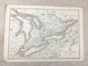Antique Map Upper Canada Lake Erie Ontario Old Hand Coloured 19th Century