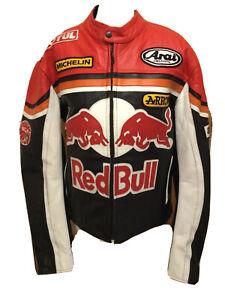 Vintage 1990's Red Bull Leather Motorcycle Biker Jacket U.K. Medium T2136