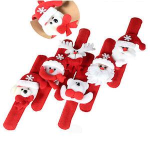 1pc New Christmas Santa Claus Snowman Dog Bear Plush Slap Bracelet Gift SEFY