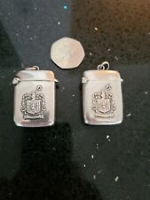 More details for  stunning matching pair of sterling silver vestas inscribed 1909