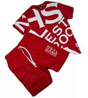 Hustle gang 2p set mens 100%Authentic Shorts & t-shirt size large red logo