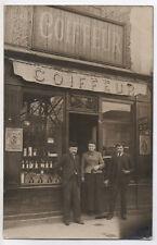 CARTE PHOTO Coiffeur Coiffure Salon Devanture Boutique Artisan 1900 Barbe
