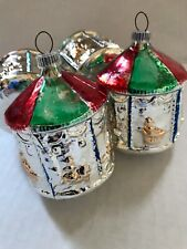 4 - Vintage Glass Carousel w Horses Christmas Ornament - Red & Green - W Germany