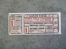 1934 WORLD SERIES TICKET Stub - Detroit Tigers - Game 1