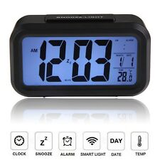 Digital snooze electronic alarm clock with LED backlight calendar control