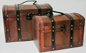 Set of 2 Wooden Treasure Chest Box, Decorative Wood Storage Trunk Antique Style