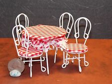 Dollhouse Miniature Ice Cream Parlor Table Set Metal 1:12 one inch scale  E2