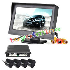 Car Reverse Backup Radar System 4 Parking Sensors LCD Sound Alert Black 580