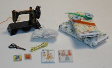 Dollhouse Miniature Sewing Machine & Fabric Bolt Set #3 1:12 One Inch Scale F57