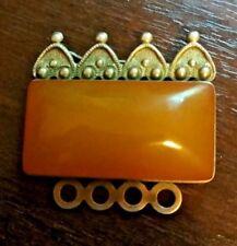 ☭☭ Vintage melchior brooch Amber made in USSR Kaliningrad Amber Factory (7ЯК) ☭☭