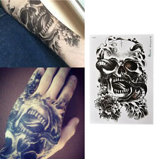 Waterproof Black Scary Skull Temporary Tattoo Large Arm Body Art Tattoo Stick Fa