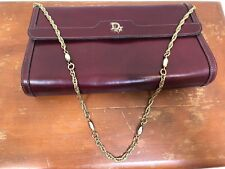 AUTHENTIC CHRISTIAN DIOR France Burgundy Signature Clutch Bag Purse with Chain