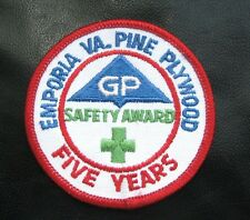 GEORGIA PACIFIC SAFETY AWARD EMBROIDERED SEW ON PATCH EMPORIA VA PINE PLYWOOD 3""