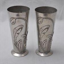 2er Set Nouveau vasi, stagno cromati, Florales Relief decoro, Number. & Sign.