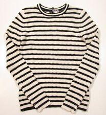 Aqua Cashmere Women's Striped White/Black Striped Crewneck Cashmere Sweater $198