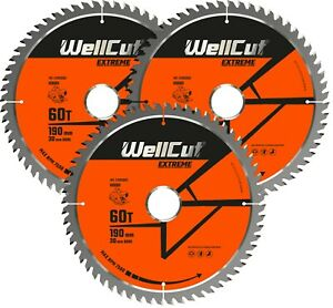 3 x TCT Saw Wood Blade Extreme 190mm x 60T x 30mm Suitable HS7100 C7U2 GKS190