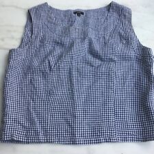 Hobbs Linen top 14 Navy/white gingham Side buttons VGPWC