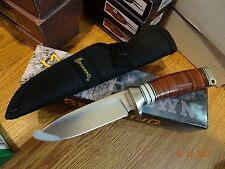 """BROWNING 8 1/2"""" DROP POINT FIXED BLADE STACKED LEATHER HANDLE & WHITE BONE 440 S"""