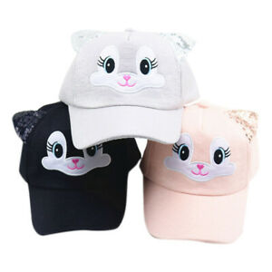 Kids Baby Cat Ears Baseball Cap Toddler Girl Snapback Adjustable Cute Visor Hats
