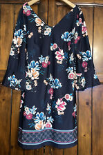 Azul Marino Elástico Cuello en V manga Gitano Boho De Campana Estampado Floral cortas Sol Vestido 12