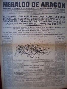 PERIÓDICO GUERRA CIVIL 5 SEPTIEMBRE 1936 BATALLA DE GUIPUZCOA TOMA DE IRÚN