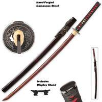 Full functional Red and Black Deluxe Damascus Steel Katana Sharp Full tang sword