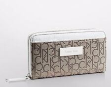 MWT Calvin Klein Womens Logo Jacquard Zip Continental Wallet Natural with White