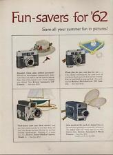 1962 Eastman Kodak PRINT AD Great Color Photo Features 7 Camera Film Projectors