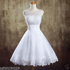 White ivory Pearl Short Prom Evening Party Cocktail Homecoming Wedding dress AA
