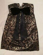 BETSEY JOHNSON gold  velvet brocade Victorian baby doll strapless mini dress 4 *