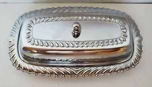 Vintage Irvinware Chrome Metal Butter Dish~No Glass Insert
