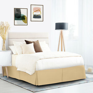 """Pleated Egyptian Solid Bed Skirt Dust Ruffle Luxury Microfiber 14"""" Tailored Drop"""