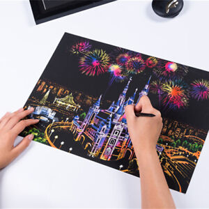 Scratch Painting Creative Gift Scratch Foil Art Adult Kid with 4 Tools 16''x11.2