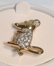 New Old Stock Krementz Goldtone Crystal Mouse Pin/Brooch