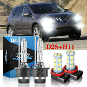 Para For Nissan Murano 2009-2013 2014 faro HID + Kit de luz antiniebla LED 6000K