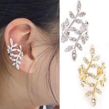 Women Crystal Rhinestone Pierced Leaf Ear Cuff Clip on Stud Earring BAAU