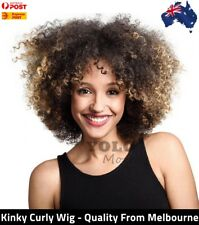 KINKY CURLY Colormix Afro African American Synthetic Wig SHORT SIDE BANG SHAGGY