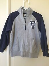 Carters Little Boys Size 4 Sweat Jacket Gray Navy Volleyball EUC Fall