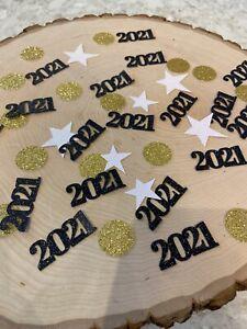 60 Glitter 2021 GRADUATION Confetti W/ Stars & Gold Dots Party Table Scatter