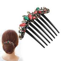 "Retro Flower Mix Color Metal Diamond Rhinestone Wedding Hair Comb Pin Clip 4.22"""
