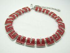 Vintage LISNER RED LUCITE PLASTIC Silver Tone COLLAR CHOKER NECKLACE Modernist