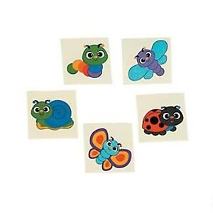 (5) SPRING BUG TATTOOS Bugs Party Favours Tattoo Stickers For Kids