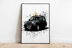 Watercolour Splash Black Cab Print A4 A3 A2 Maxi Wall Art Decor London 5071