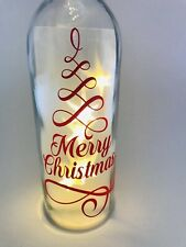 Merry Christmas Vinyl Decal Sticker For Wine Bottle  Red