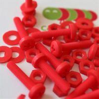 20x Red Screws Plastic Nuts & Bolts, Washers, M4 x 20mm, Anti-Corrosion