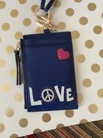 TORY BURCH Peace Love Card ID Badge Metro Holder Lanyard FOB WALLET Navy Leather